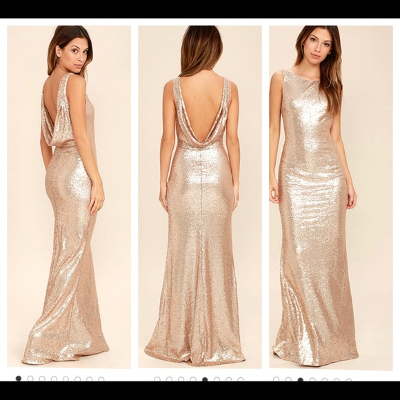 efa1bcab9310 Lulu's Dresses | Matte Rose Gold Sequin Maxi Dress | Poshmark
